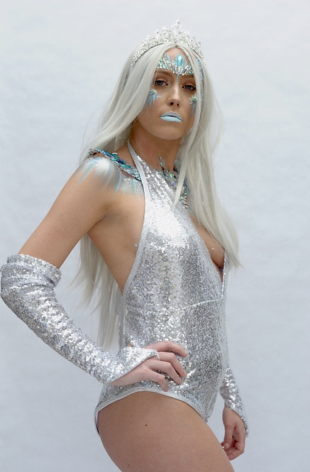 Ice Queen Silver Sequin V Neck Bodysuit With Matching Gloves