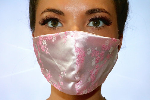 Baby Pink Flower Satin Face Mask