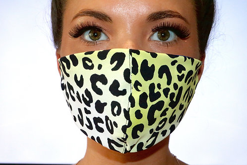 Yellow and Green Leopard Print Face Mask