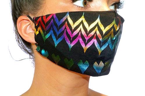 Black Multi colour love heart Face Mask