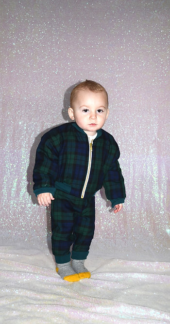 Pea Baby Green Tartan Bomber Jacket with Gold Zip Unisex for Kids