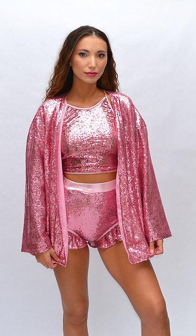 Pink Sequin Kimono