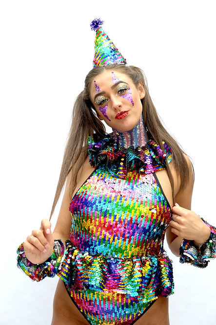 Clown Rainbow Sequin Bodysuit with matching Frills and Hat