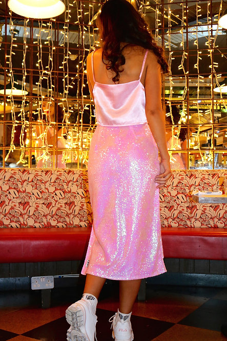 Pink Sequin Long Satin Skirt with Slit