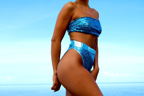 Blue Sequin High Rise Peakini Bottoms