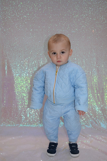 Pea Baby Kids Baby Blue Quilted Bomber Jacket With Gold Zip Unisex
