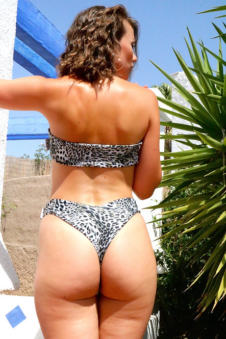Grey Leopard Print Peakini Thong Bottoms