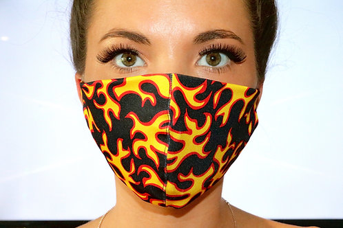 Flame Print Face Mask