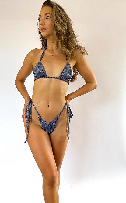 Navy Sparkle Triangle Bikini Top Pea Street