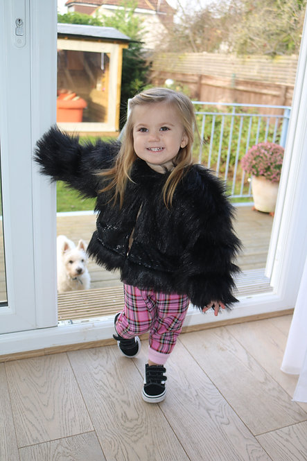 Pea Baby Black Fur Coat With Black Sequin Panel