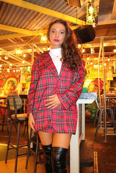 Red Tartan Blazer Dress Pea Street