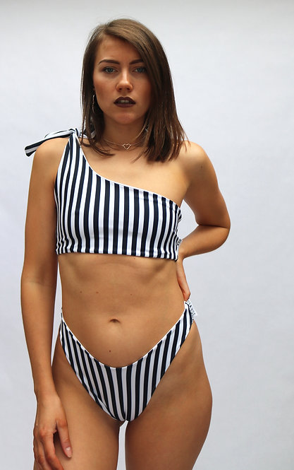 Navy and White Stripe One Shoulder Peakini Top