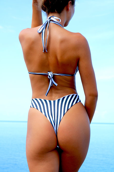 Navy and White Stripe High Rise Peakini Thong Bottoms