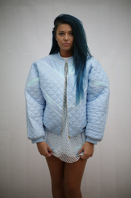 All Baby blue bomber jacket