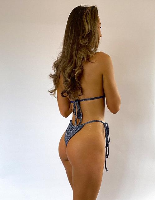 Navy Sparkle Ruched Tie Up Bikini Bottoms Pea Street