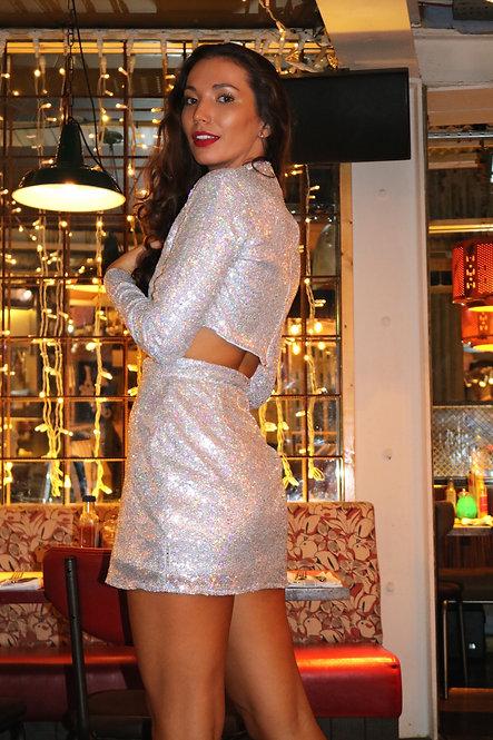 Silver Hologram Sequin High Waisted Skirt Pea ST