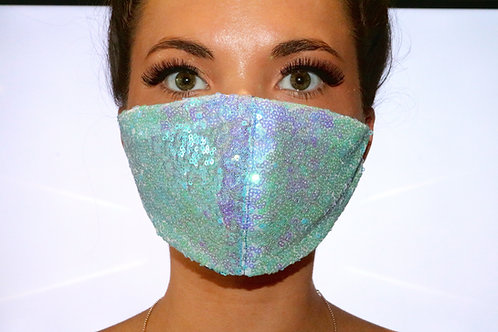 Baby Blue Sequin Face Mask