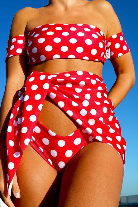 Red and White Polka Dot Peakini Wrap