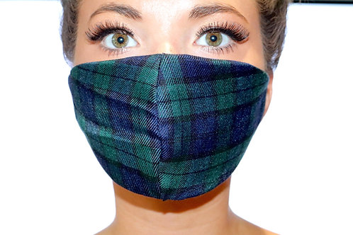 Green and Navy tartan Face Mask