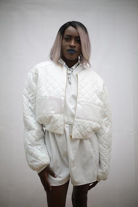 All White cropped bomber jacket