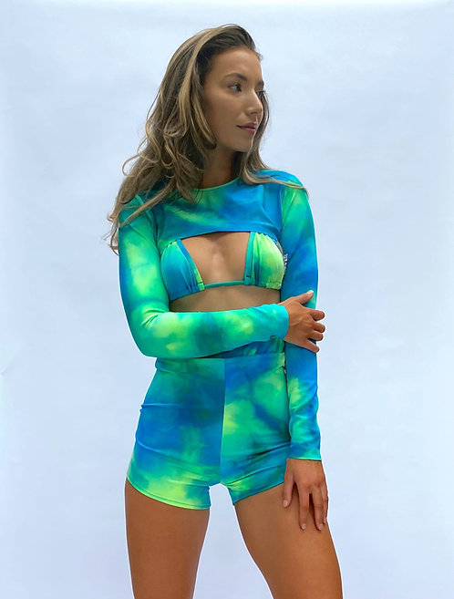 Blue and Green Tie Dye Triangle Top Pea Street