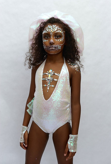 Mini Dead Bride White Sequin V Neck Bodysuit