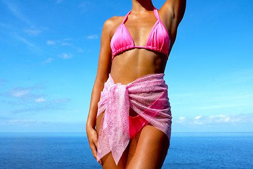Pink Sheer Sparkle Peakini Wrap