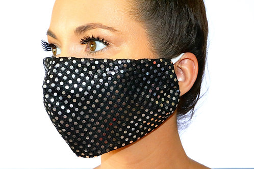 Black and silver sparkle dot Face Mask