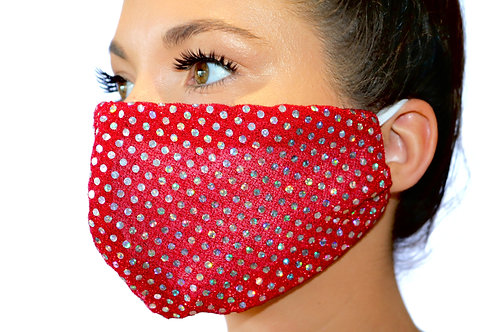 Red and silver sparkle dot 2 Face Mask limited edition