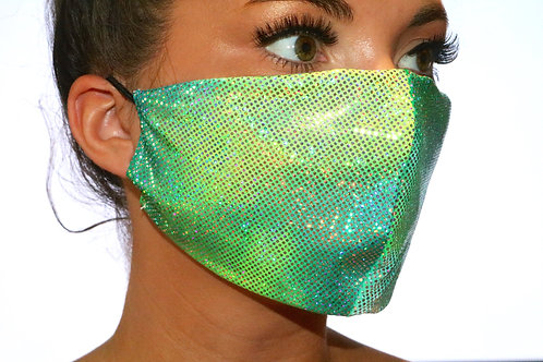 Pastel Green and Blue sparkle metallic Face Mask