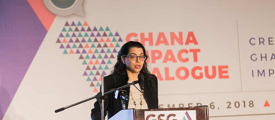 Amel Karboul speaks at the GSG Ghana Impact Dialogue