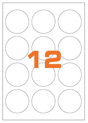 Etichette d60 mm in carta bianca su fogli A4