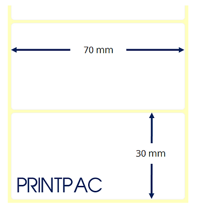 Etichette a trasferimento termico 70x30mm - Mandrino diametro 40mm