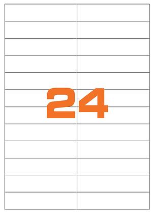 Etichette 105x25 mm in carta bianca su fogli A4