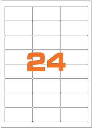 Etichette 64,6x33,8 mm in carta bianca su fogli A4