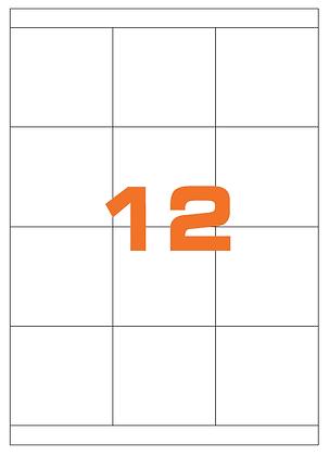 Etichette 70x67 mm in carta bianca su fogli A4