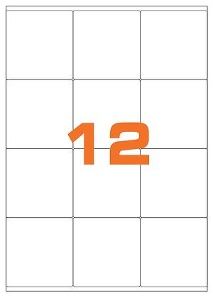 Etichette 70x72 mm in carta bianca su fogli A4