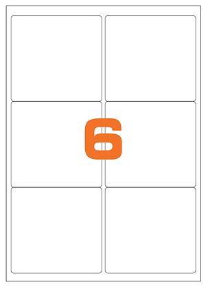 Etichette 99,1x93,1 mm in carta bianca su fogli A4