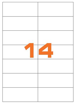 Etichette 105x42,3 mm in carta bianca su fogli A4