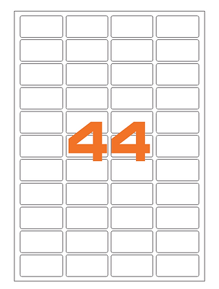 Etichette 47,5x25,5 mm in carta fluorescente in fogli A4