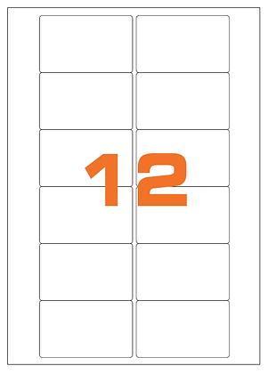 Etichette 76,2x46,4 mm in carta bianca su fogli A4