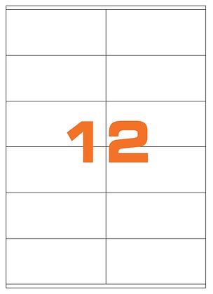 Etichette 105x48 mm in carta bianca su fogli A4