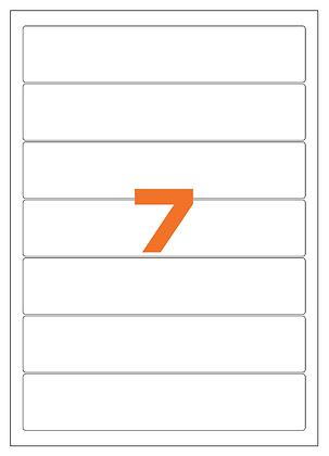 Etichette 190x38 mm in carta bianca su fogli A4 - Adesivo REMOVIBILE