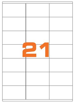 Etichette 70x41 mm in carta bianca su fogli A4