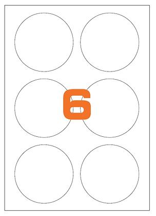 Etichette d85 mm in carta bianca su fogli A4