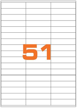 Etichette 70x16,9 mm in carta bianca su fogli A4