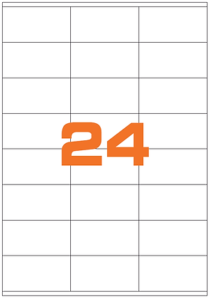 Etichette 70x35 mm in carta bianca su fogli A4