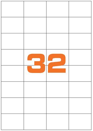 Etichette 52,5x72 mm in carta bianca su fogli A4