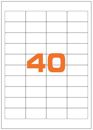 Etichette 48,5x25,4 mm in poliestere bianco opaco su fogli A4
