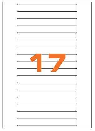 Etichette 145x17 mm in carta bianca su fogli A4